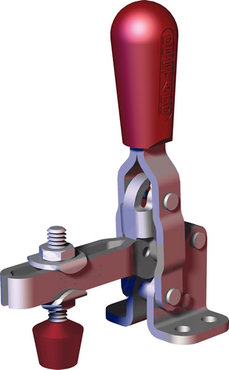 Popular toggle clamp series with ergonomic handle grip with neoprene spindle, flanged base, and long U-bar.