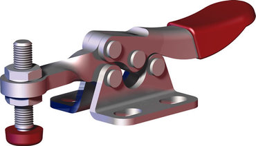 Small toggle clamp series for light duty clamping in tight spaces with flanged base and solid bar.