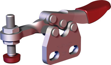 Small toggle clamp series for light duty clamping in tight spaces with straight base and solid bar.