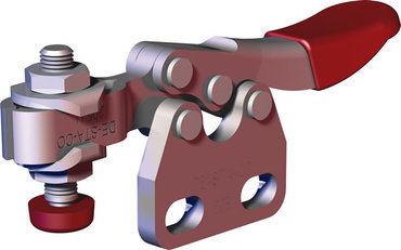 Small toggle clamp series for light duty clamping in tight spaces with straight base and U-bar.