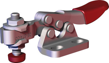 Small toggle clamp series for light duty clamping in tight spaces with left flanged base and U-bar.