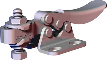 Small, stainless steel toggle clamp series for light duty clamping in tight spaces with flanged base and U-bar.