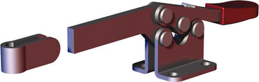 Low profile, horizontal hold down clamp with solid bar and flanged base.