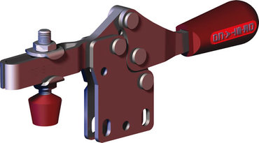 Low profile, horizontal hold down clamp with large handle clearance, straight base, and U-bar.