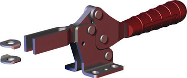 Low profile, horizontal hold down clamp with large handle clearance, flanged base, and open bar with black finish.