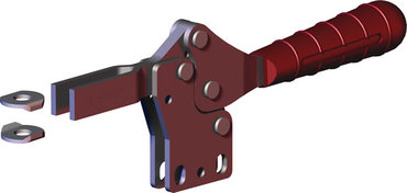 Low profile, horizontal hold down clamp with large handle clearance, straight base, and open bar.
