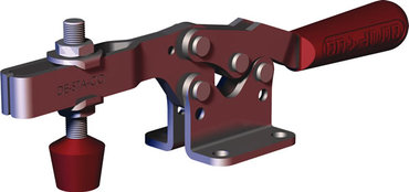Low profile, horizontal hold down clamp with neoprene spindle, flanged base, and U-bar.
