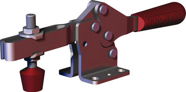 Low profile, horizontal hold down clamp with large hand clearance, flanged base, and U-bar.