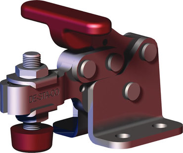 Destaco's 307-U Series horizontal hold down clamps feature a compact design suitable for use in confined spaces, flanged base, and U-bar.