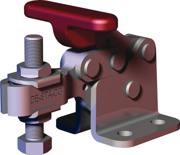 Destaco's 307-USS Series horizontal, stainless steel hold down clamps feature a compact design suitable for use in confined spaces, flanged base, and U-bar.