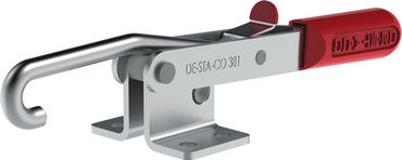 Destaco's 381 Series pull action latch clamps are equipped with patented thumb control lever for one handed operation, U-hook for easy adjustment, and threaded pull bar.