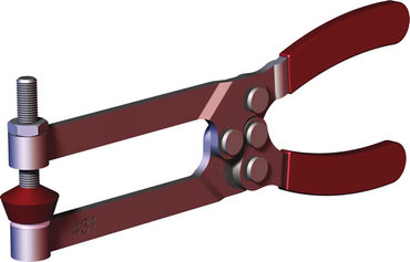 Destaco's 431 Series squeeze action plier clamps feature tempered spring steel jaws for exceptional jaw depth and are supplied with neoprene spindle.