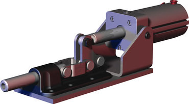 Destaco's 830 Series pneumatic toggle clamps feature built-in flow restriction that eliminates the need for external flow controls.