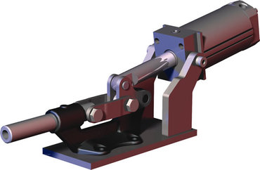 Destaco's 850 Series pneumatic toggle clamps feature hardened pins/bushing at all pivot points for long lifecycle.