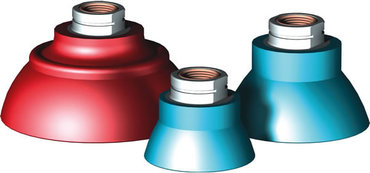 Destaco's DD-DM-R Series of round deepdish vacuum cups are made from nitrile and are chemically resistant to oil, water, grease, hydraulic fluid, and alcohol.