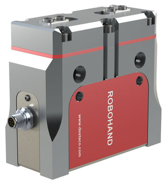 Destaco's DPE Series of electric parallel grippers feature plug & play operation, no programming tuning or adjusting.