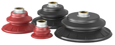 Destaco's TC and HT Series of round traction cups incorporate flexible side walls and a wide skirt with internal traction feet to prevent parts from sliding on high speed automation.