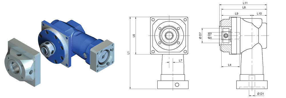Gear Reducers | Right-Angle | DL-DC-075-100H