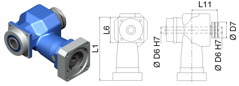Gear Reducers | Right-Angle | DL-PH-055-100H
