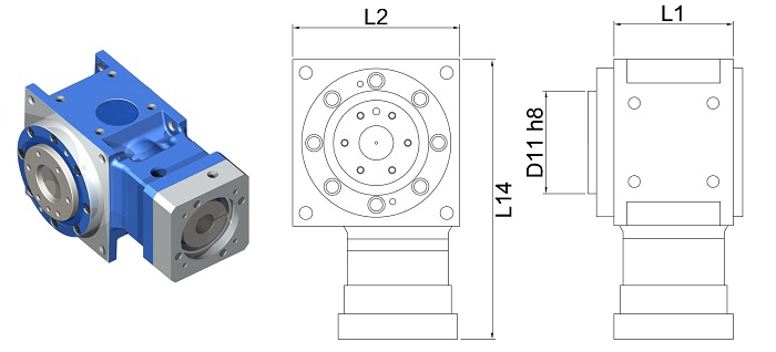 DS-FL-090-008H Right Angle Hypoid Gear Reducer