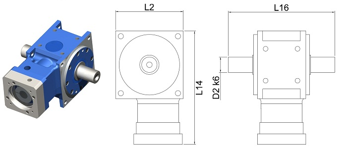 DS-TL-055-010A Right Angle Hypoid Gear Reducer