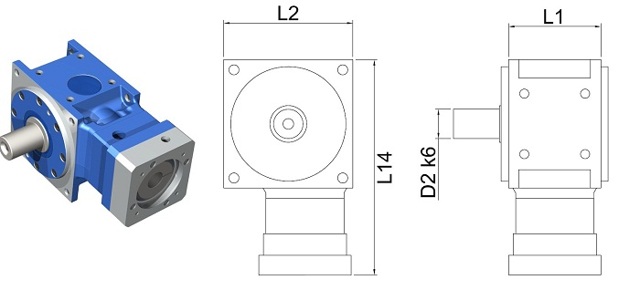 DS-WB-055-100G Right Angle Hypoid Gear Reducer