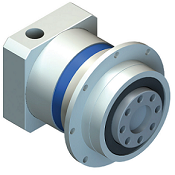 Inline planetary gear reducers with straight tooth gearing.  Flange output