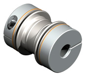 Bellows coupling with unique bellows design for high torsional stiffness and low lateral spring rates.