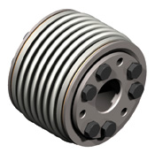 Bellows coupling with high clamping forces, high torque, self-centering conical bushings.