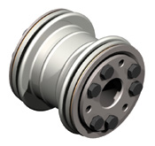 Bellows coupling with unique bellows design for high torsional stiffness and low lateral spring rates.  Conical clamping hubs