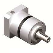 Inline planetary gearbox with straight tooth gearing.  Metric shaft output.  Low cost gearbox