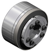 Indirect drive safety couplings feature integrated ball bearings for attachment to pulleys, sprockets, and flanges.