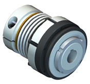 Direct drive safety coupling with bellows attachment for high stiffness and keyed hub connection on safety element.