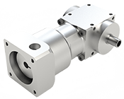 VPC-Series Right Angle mini spiral bevel gearbox.  Smooth hollow output with motor mount input.