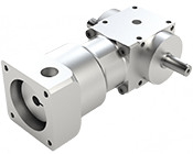 VPC-Series Right Angle mini spiral bevel gearbox with motor mount and shaft output