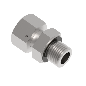 DEGE-25S-M33-S316 Swivel Adapter Metric Paralled