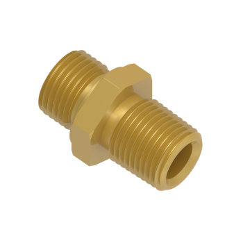 H-SNA-12NG-BRAS Hex Nipple Male Npt To Male Iso Parallel