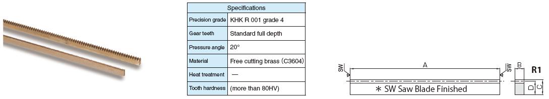 KHK BSR0.5-300,  Module 0.5, 190 Tooth, Brass Gear Racks