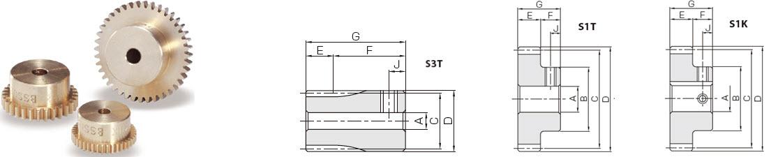 KHK BSS0.5-20,  Module 0.5, 20 Tooth, Brass Spur Gears