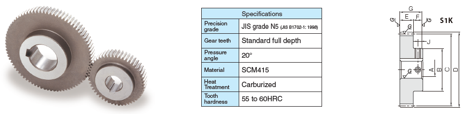 KHK MSCPG10-25B, CP10, Module 3.18, 25 Tooth, CP Hardened Ground Spur Gears