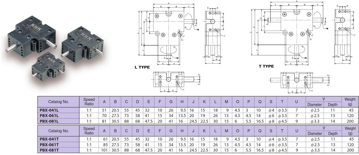 KHK PBX-081L, L Type, Size 8, PBX Mini-Bevel Gear Box   Mini