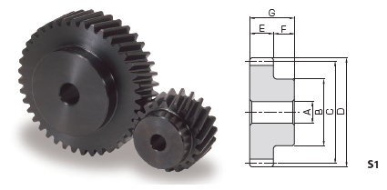 KHK SH2-40R, Module 2, 40 Tooth, Right Hand, Helical Gears