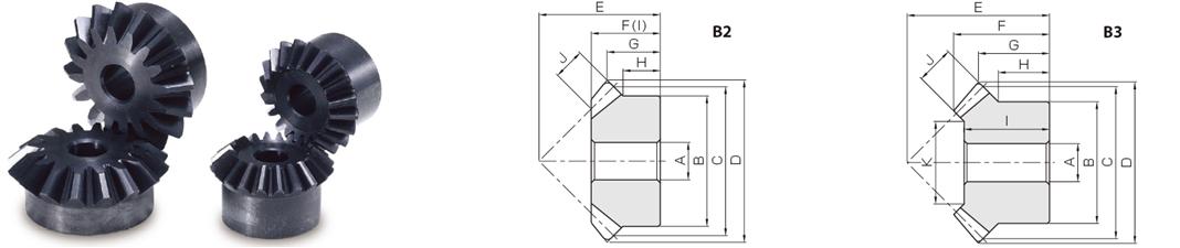 KHK SM2.5-20, Module 2.5, 20 Tooth, Carbon Steel Miter Gears