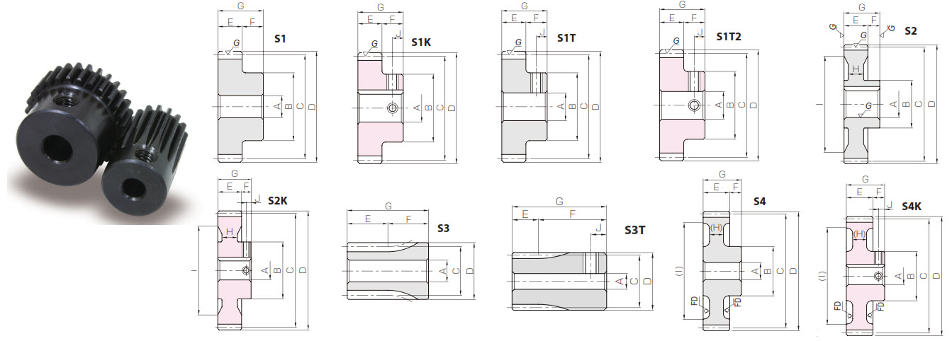 KHK SSDP10PA14.5-60, (Module 2.54) 10DP, 14.5° Pressure Angle 60 Tooth, Carbon Steel Spur Gears