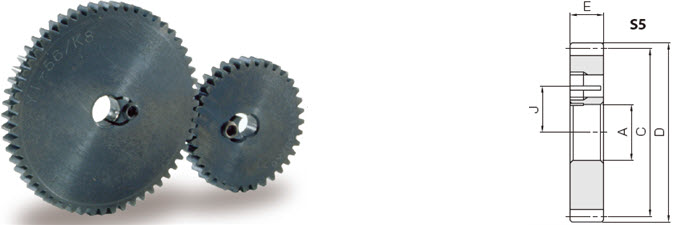 KHK SSAY0.8-35/K8, Module 0.8, 35 Tooth, Hubless Gears with K-Clamps