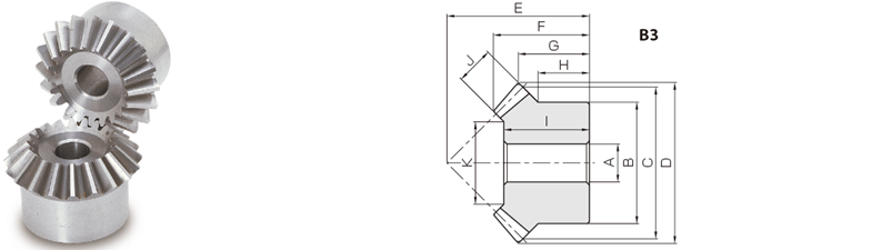 KHK SUM1.5-30, Module 1.5, 30 Tooth, Stainless Steel Miter Gears