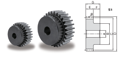 KHK KSG1.5-20, Module 1.5, 20 Tooth, Ground Alloy Steel Spur Gears